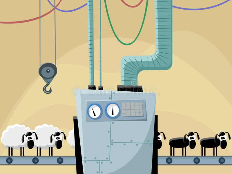 Sheeps op de transportband vector illustratie