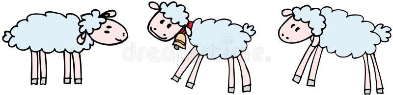 sheeps tre vektor illustrationer