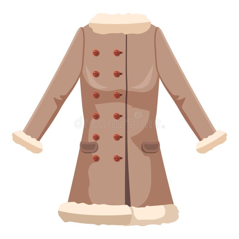 Sheepskin jacket icon, cartoon style stock illustration