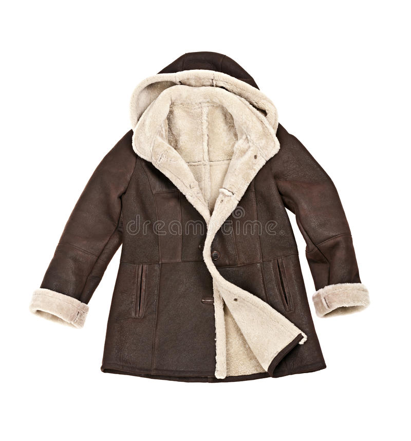 Sheepskin winter coat. Warm brown shearling winter coat isolated on white stock photography