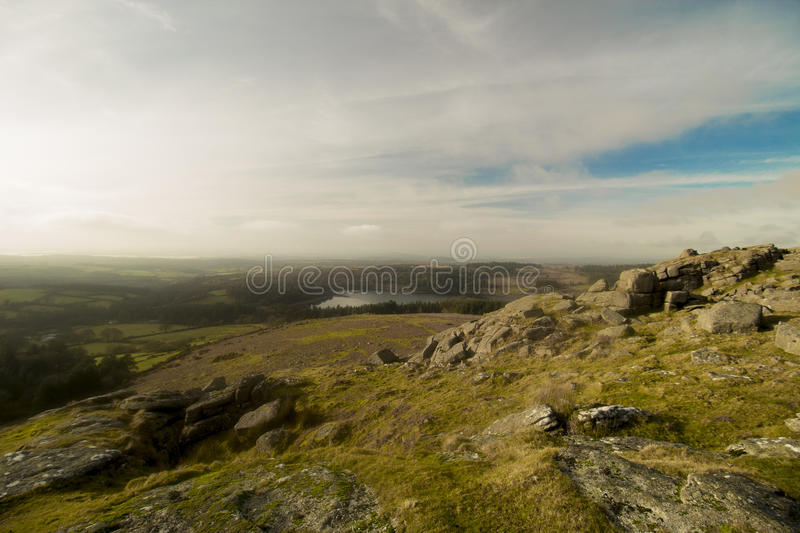 Sheepstor Dartmoor National Park Devon uk. Dartmoor national park devon , one of the common tors well known for climbers to train in devon uk royalty free stock photos