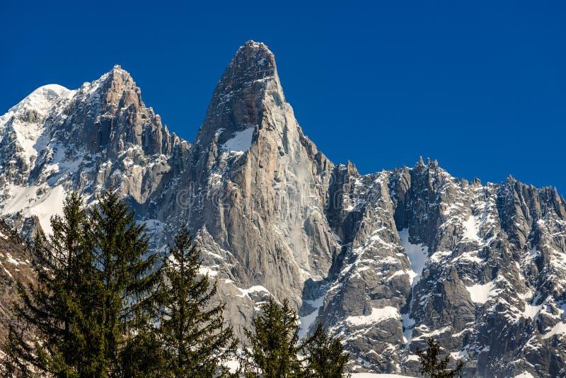 Aiguilles des Drus and Aiguille Verte left in the Mont Blanc mountain range. Chamonix, Haute-Savoie, Alps, France royalty free stock photos