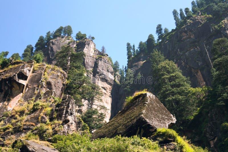 Sheer cliffs in the Kullu valley. Vashisht, Himachal Pradesh, India stock photo