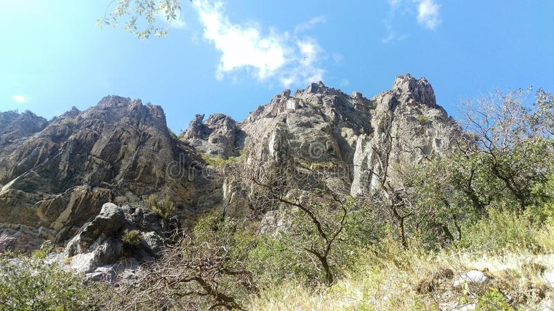 Three Sister`s Canyon - Jagged Outcrops. A sheer, multi-layered pinnacle of `Jagged Canyon` in Springville, Ut royalty free stock photography