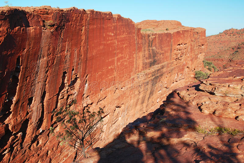 The sheer south wall of Australian Kings Canyon. A photo of an almost vertical joinface at Kings Canyon sheer south wall royalty free stock photos