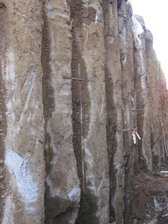 Sheer wall of deep pit royalty free stock photos