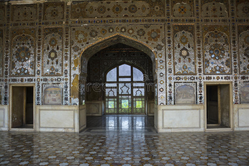 Sheesh Mahal Interior Lahore Fort. The Sheesh Mahal The Palace of Mirrors; Urdu: شیش محل‎ is located within the Shah Burj block in royalty free stock photos