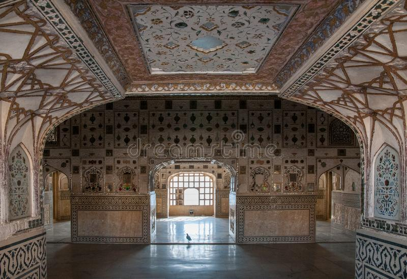 Sheesh Mahal på Amer Fort i Jaipur arkivbilder