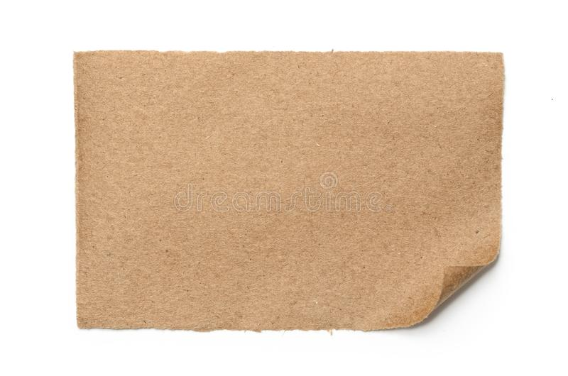 Sheet of brown, old paper isolated on a white background stock images