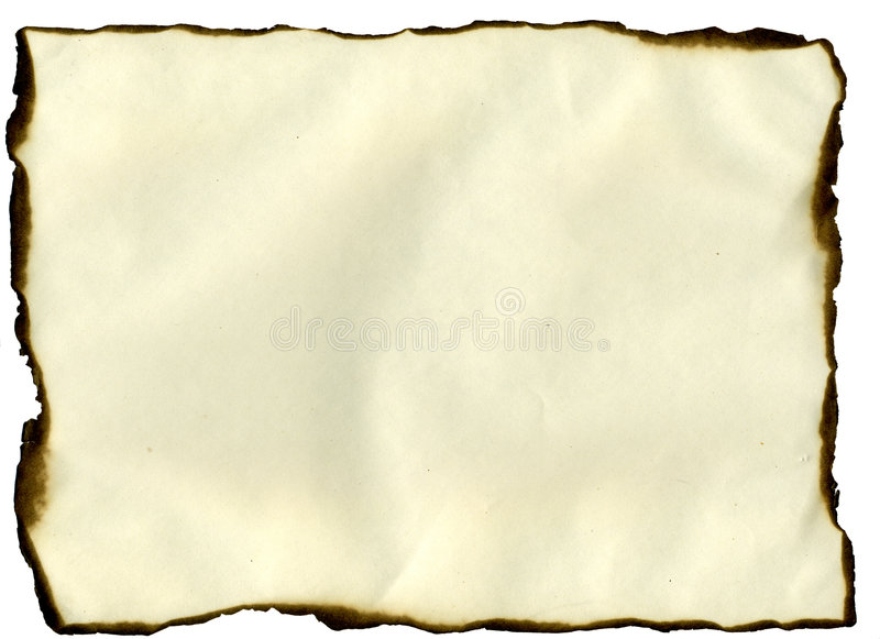 Sheet with burned edges stock images