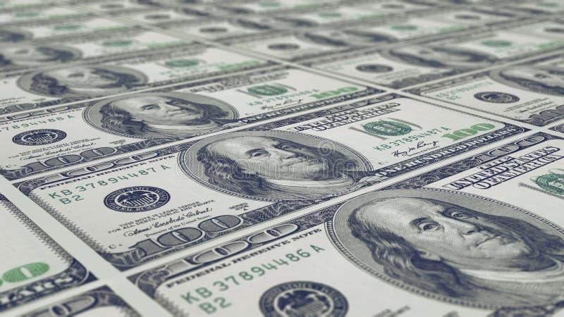 Sheet of 100 dollar notes royalty free stock photos