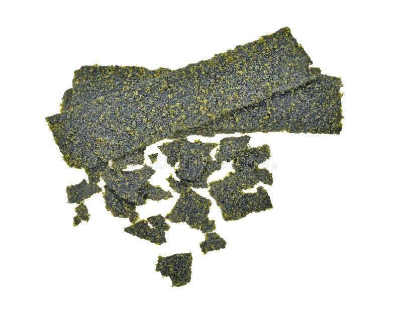 Sheet of dried seaweed, Crispy seaweed isolated on white backgro. The Sheet of dried seaweed, Crispy seaweed isolated on white background royalty free stock image