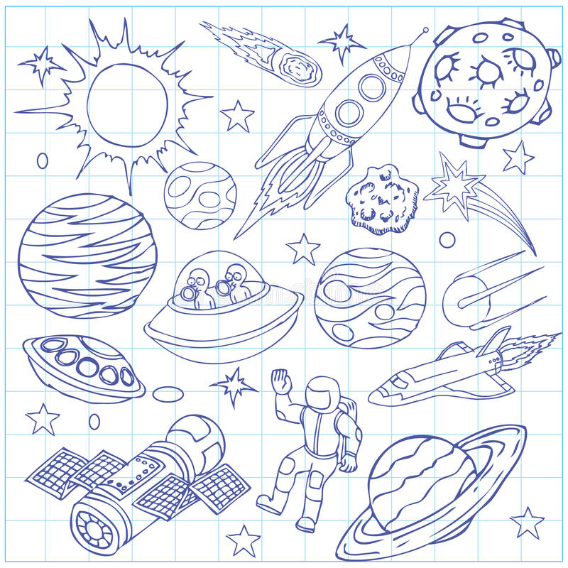 Sheet Of Exercise Book With Outer Space Doodles Stock Vector