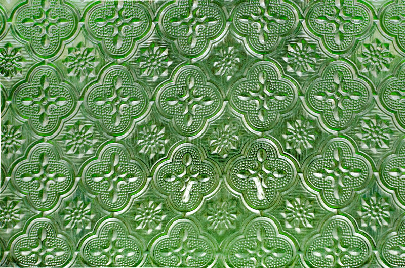 Sheet of glass texture green star pattern for Window stock images