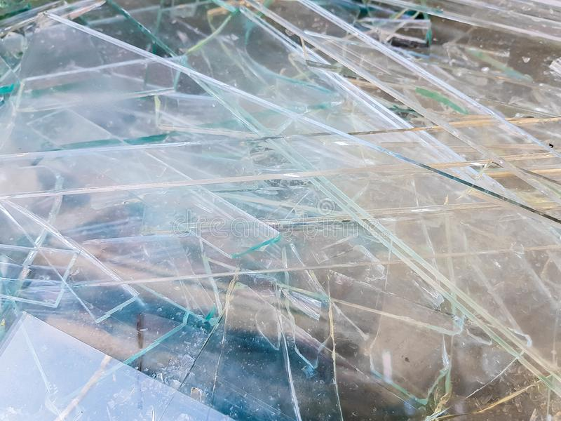 Sheet glass waste on big bags, waiting the transport back to the factory stock photography