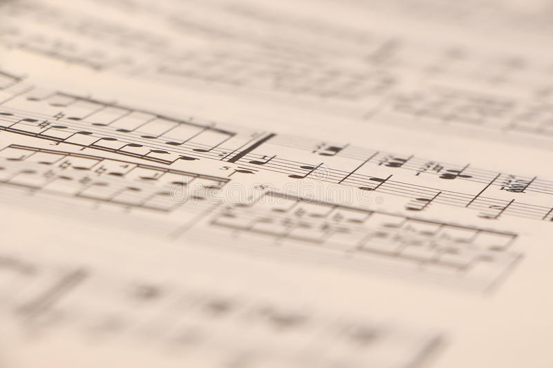 Sheet music. Old sheet music, close-up shot, very shallow depth of field. Could be easily used in any design, enjoy stock images