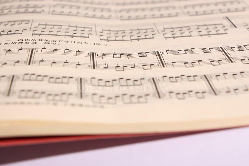 Sheet music. Open sheet music on white paper royalty free stock photo