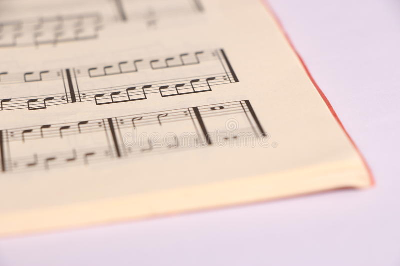 Sheet music. Open sheet music and white paper on desk royalty free stock photos