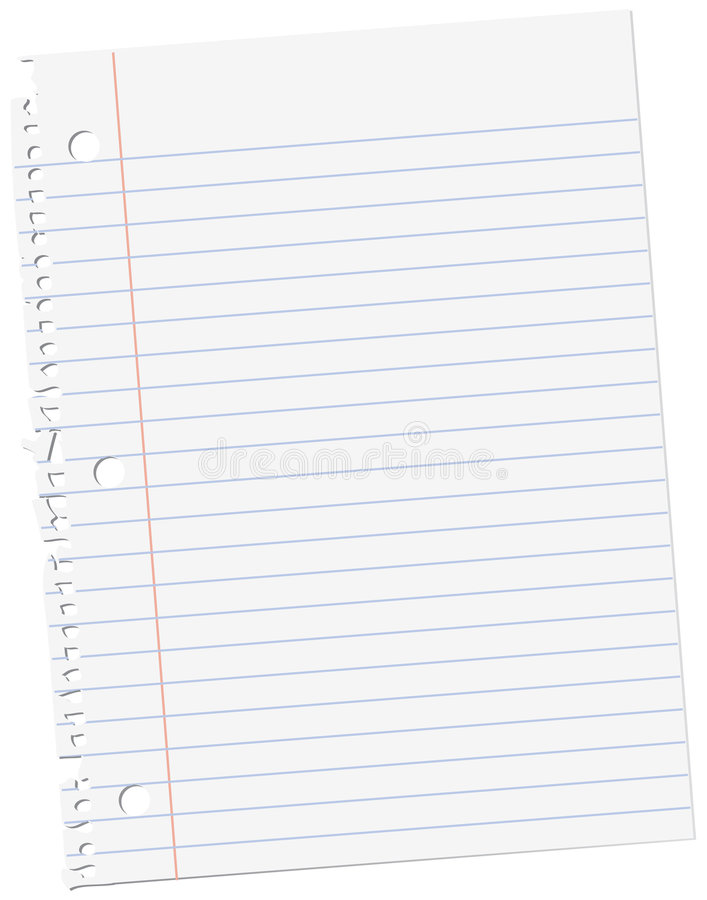 Sheet of notebook paper stock illustration