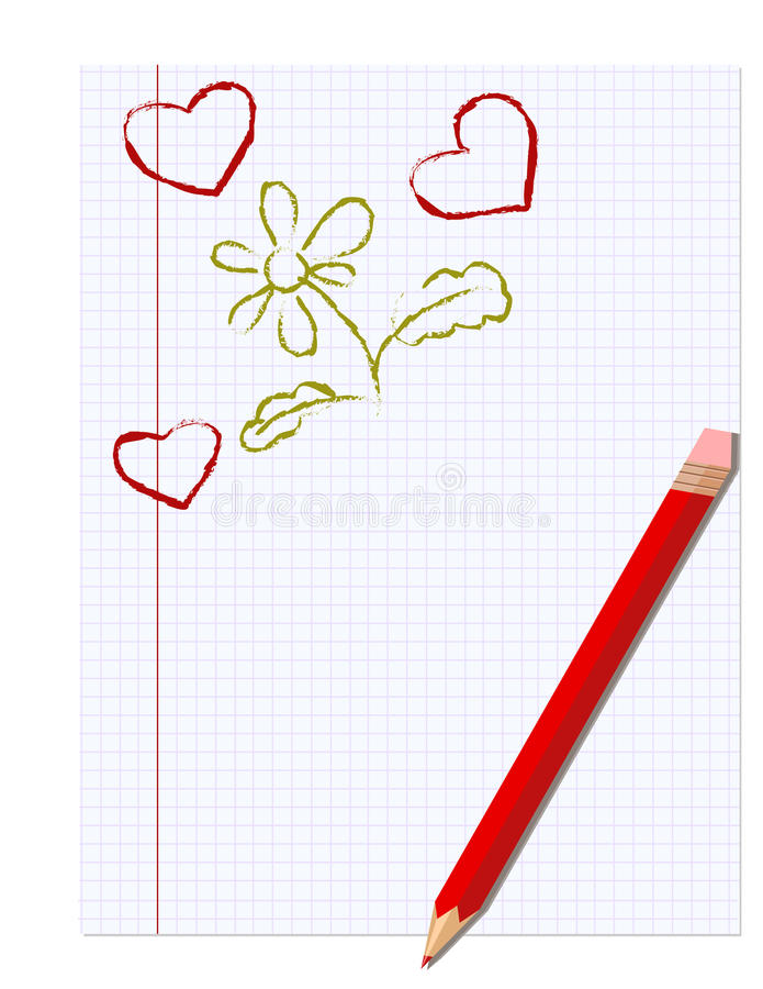 Sheet of notebook and pencil