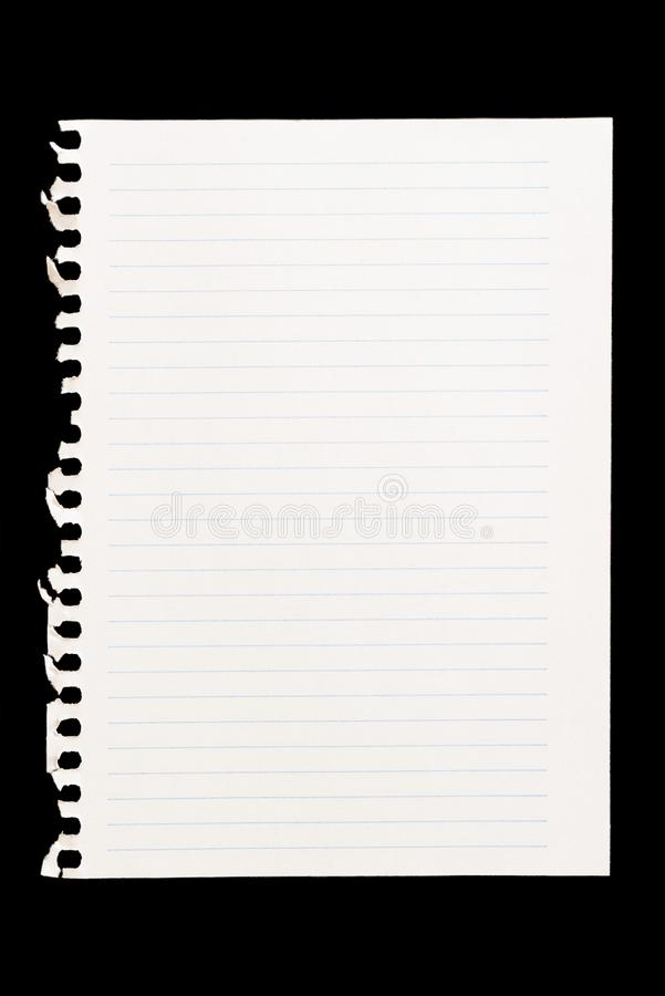 Sheet of notebook to be used as background image in compositions stock image