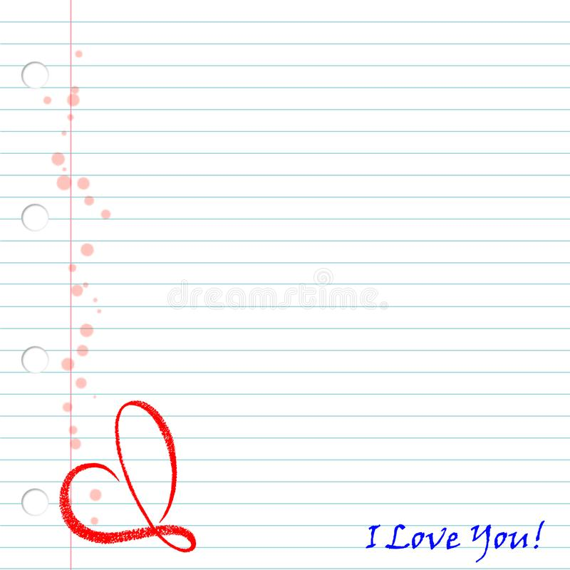 Sheet of notebooks with the words `I love you` and a red heart stock illustration