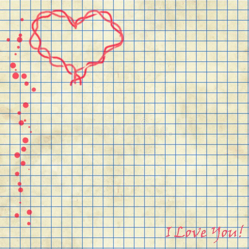 Sheet of notebooks with the words `I love you` and a red heart. Blue lines and red dots. For scrapbook work and design project. Romantic white writing paper royalty free illustration