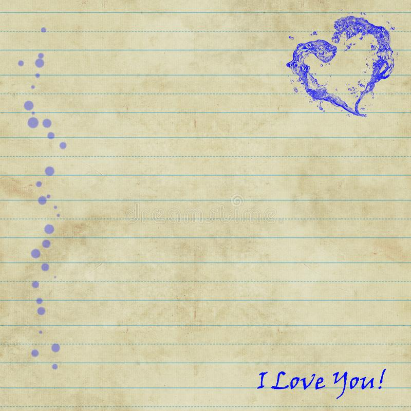 Sheet of notebooks with the words `I love you` and a red heart. Sheet of notebooks with the words `I love you` and a blue heart, blue lines and violet dots. For vector illustration