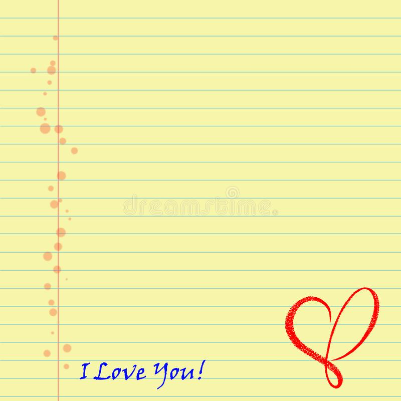 Sheet of notebooks with the words `I love you` and a red heart. Blue lines and orange dots. For scrapbook work and design project. Romantic yellow writing vector illustration
