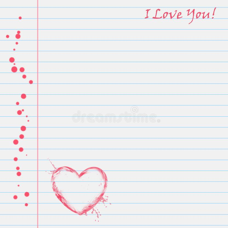 Sheet of notebooks with the words `I love you` and a red heart. Blue lines and red dots. For scrapbook work and design project. Romantic white writing paper vector illustration