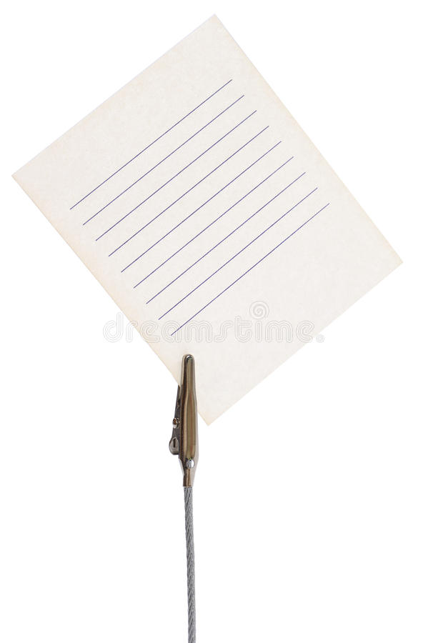 Sheet for notes in a holder stock images