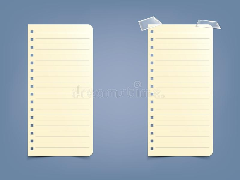 Sheet, page in a striped notebook, notepad on a blue background. stock illustration
