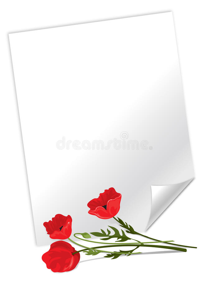 Download Sheet of paper stock vector. Illustration of blank, poppies - 23096996
