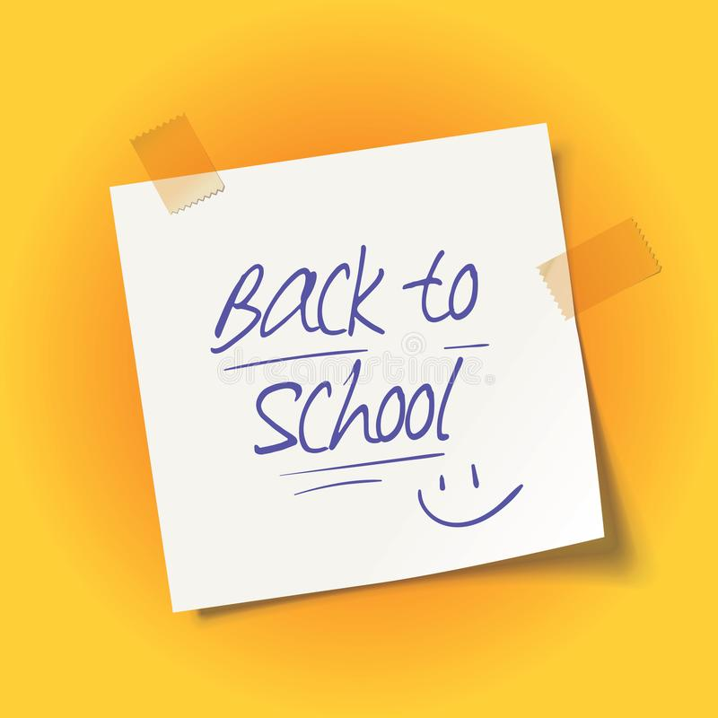 Sheet of paper with adhesive tape. Back to school message vector illustration
