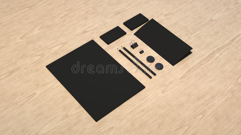 Sheet of paper, business cards, binder clips, badges and pencils. Branding mockup. Sheet of paper, business cards, binder clips, badges and pencils. 3D rendering vector illustration