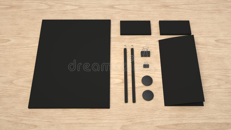 Sheet of paper, business cards, binder clips, badges and pencils. Branding mockup. Sheet of paper, business cards, binder clips, badges and pencils. 3D rendering royalty free illustration