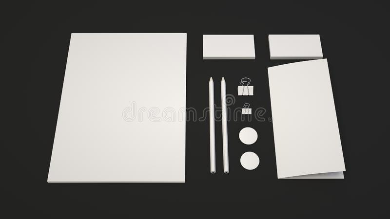 Sheet of paper, business cards, binder clips, badges and pencils. Branding mockup. Sheet of paper, business cards, binder clips, badges and pencils. 3D rendering stock illustration