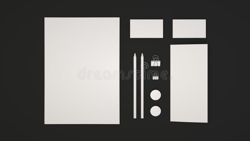 Sheet of paper, business cards, binder clips, badges and pencils. Branding mockup. Sheet of paper, business cards, binder clips, badges and pencils. 3D rendering vector illustration