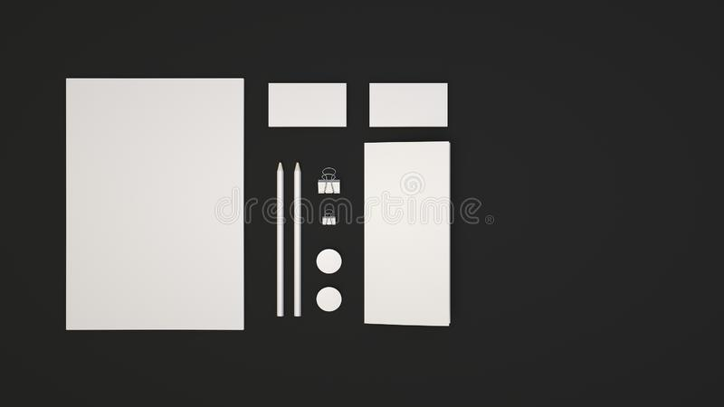 Sheet of paper, business cards, binder clips, badges and pencils. Branding mockup. Sheet of paper, business cards, binder clips, badges and pencils. 3D rendering royalty free illustration