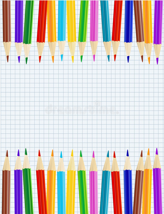 Sheet of paper with color pencils royalty free illustration