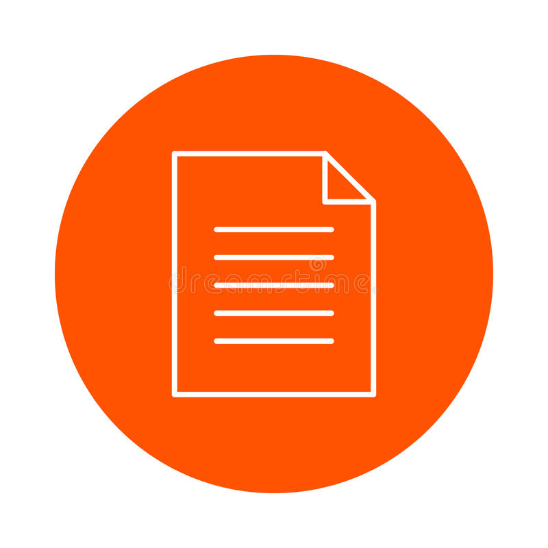 A sheet of paper with a curved corner and a text article, a monochrome round icon, a flat style royalty free illustration