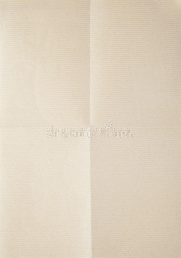 Sheet of paper folded in four stock photography