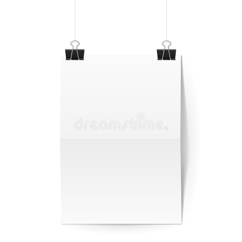 Sheet of paper folded in two hangs on binder clips. Sheet of paper folded in two hangs on two black binder clips vector illustration