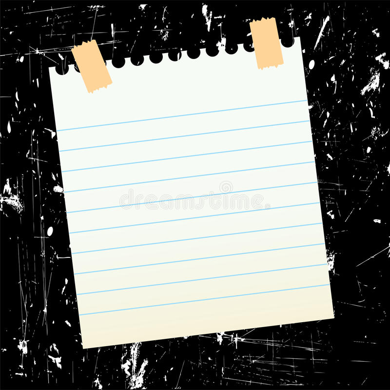 Sheet of paper on grungy background royalty free illustration