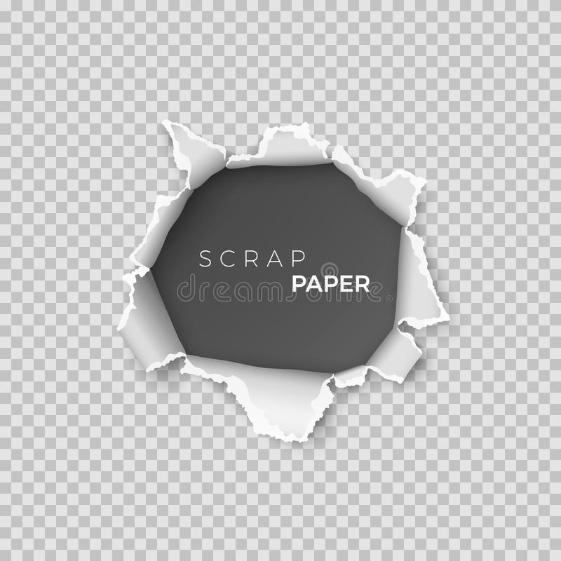 Sheet of paper with hole inside. Template realistic page of scrap paper with rough edge for banner. Vector. Illustration isolated on transparent background stock illustration