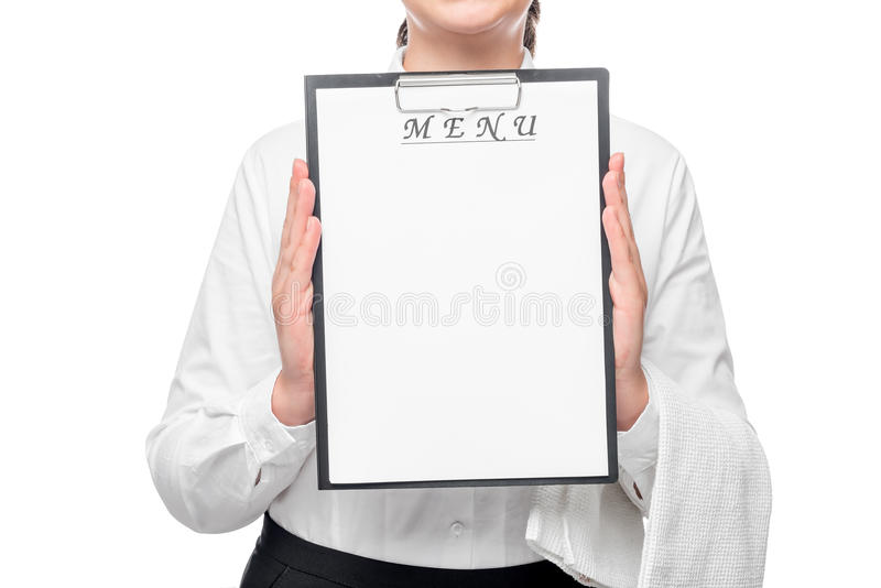 A sheet of paper for the label in the waitresses hand royalty free stock photo