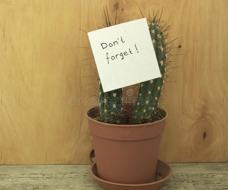 Sheet of paper for notes with inscription `Don`t forget!` stock image