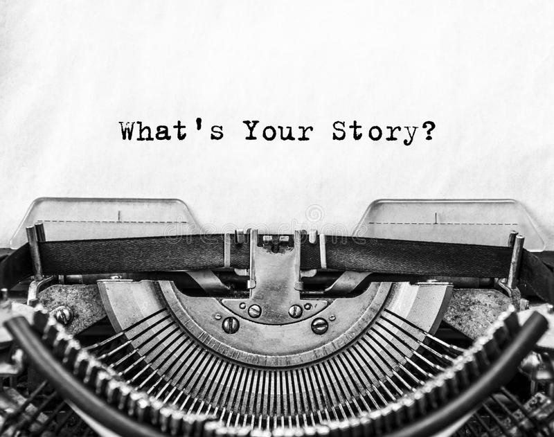What`s Your Story? question printed on an old typewriter. A sheet of paper with printed text What`s Your Story set in a retro typewriter for typing royalty free stock photos