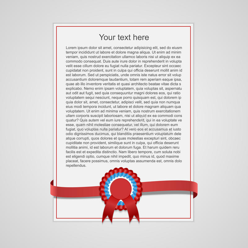 Sheet of paper with red decorative ribbon. vector illustration