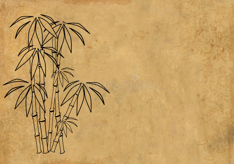 Download Sheet Rice Paper With Figure Of Bamboo Stock Illustration - Illustration: 5577999